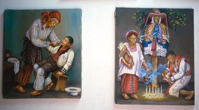 Paintings in Guatemala depicting traditional curanderos