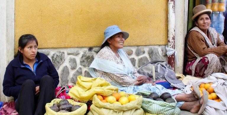 Vendors in the Coroico plaza