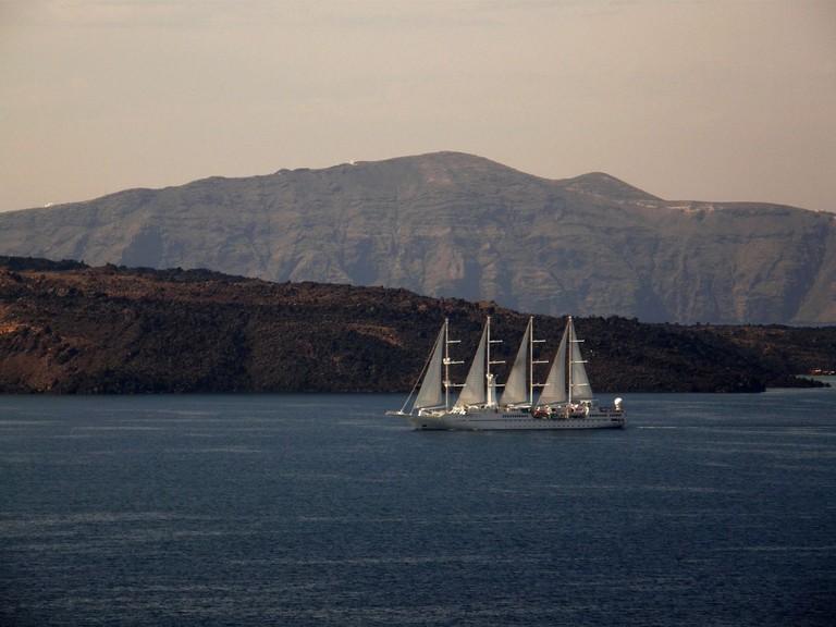 Passing near Nea Kameni island (the Volcano) inside the Caldera of Santorini