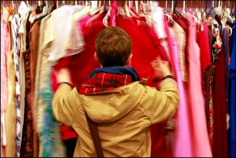Jen attacks a vintage clothes rack