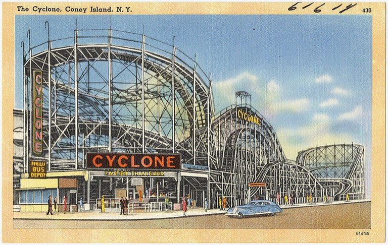 An old postcard of the Cyclone