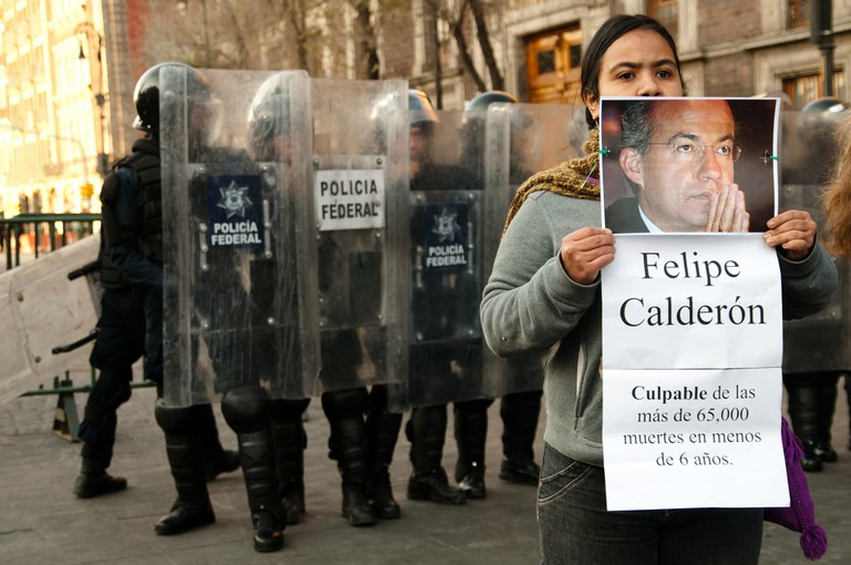 A Mexico City protest blaming Calderón for his disastrous and bloody attempt to take down cartels