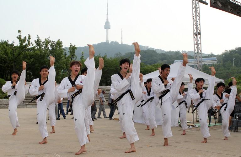 Kukkiwon Taekwondo Demonstration Team at Namsangol Hanok Village