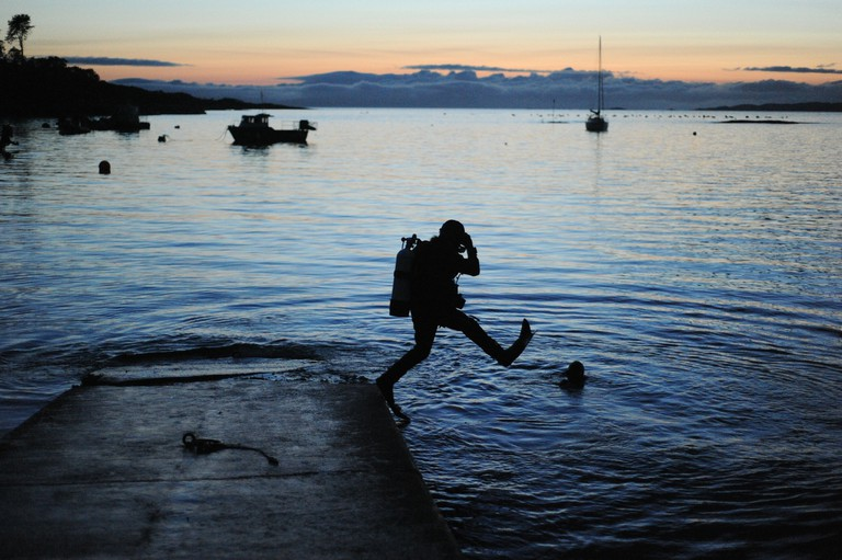 Stepping Off For a Night Dive, Glenuig