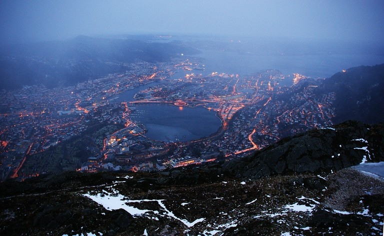The view from Ulriken the highest of Bergen's seven mountains