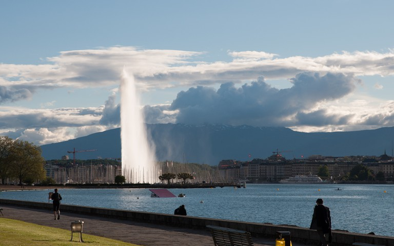 The Jet d'Eau, visible from most places in Geneva