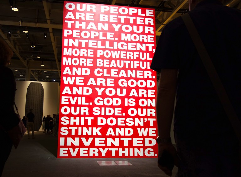 """Art Basel 2017, Unlimited, Sprueth Magers, Barbara Kruger """"Our People are Better Than Your People"""" sold for US$350,000"""