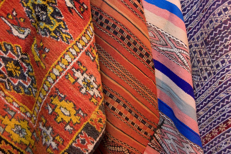 """<a href=""""https://www.flickr.com/photos/thedadys/10874959656/"""" target=""""_blank"""">Colourful Moroccan carpets"""
