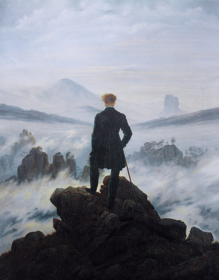 Caspar David Friedrich's most famous Romanticist masterpiece, The Wanderer above the Sea of Fog
