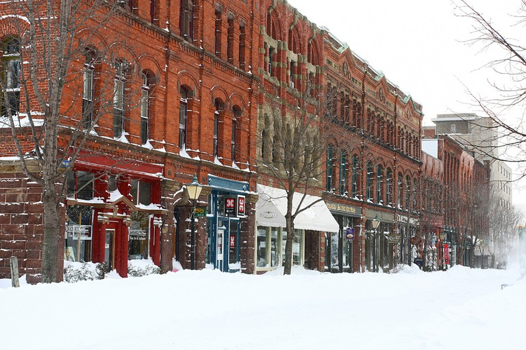 Snowy Victorian row housing in Charlottetown
