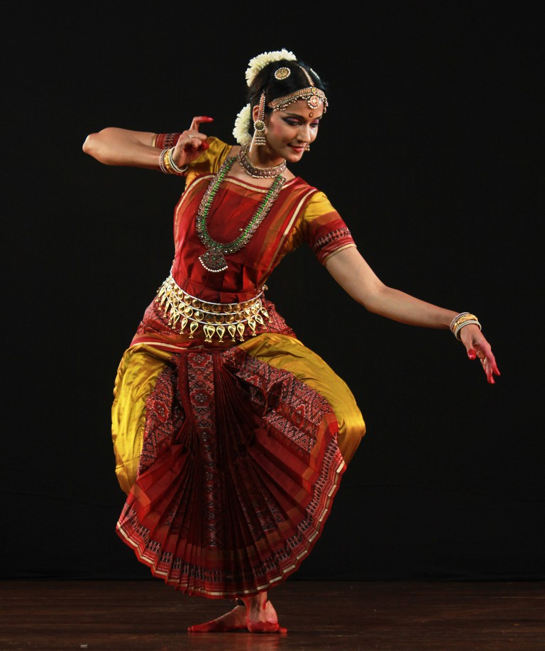 A dancer performing Bharatnatyam