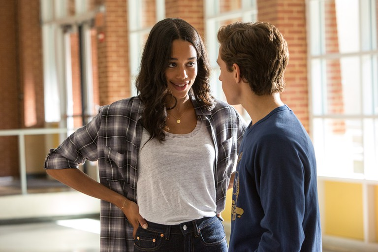 Laura Harrier (left) and Tom Holland in Columbia Pictures' 'Spider-Man: Homecoming'