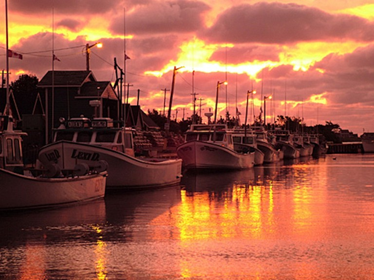 Fishing boats at sunset on Prince Edward Island