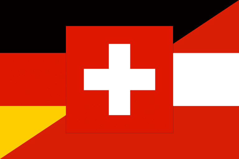 Flags of Germany, Switzerland and Liechtenstein