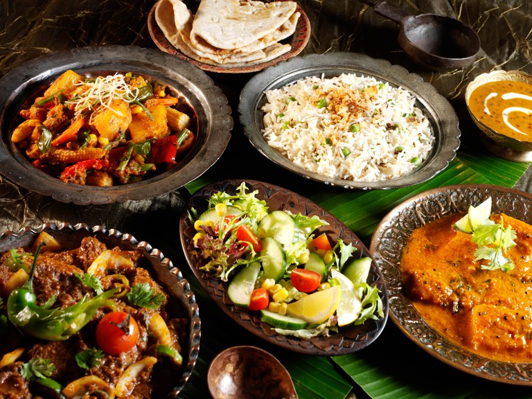 A typical Indian meal involves vegetable dishes, rice and whole-wheat flat breads