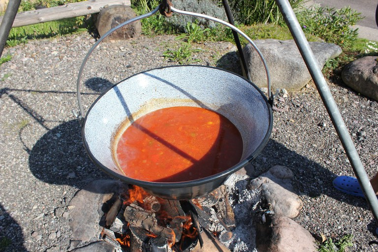 Slovak goulash is typically cooked over an open fire