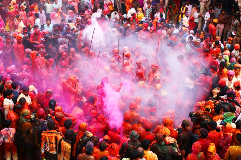 Holi, the festival of colours, being celebrated in Varanasi