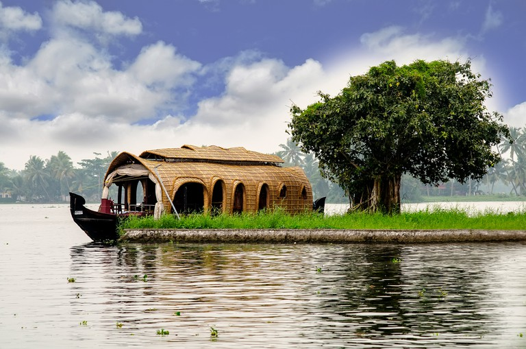 A typical boat-house in Kerala parked in the backwaters