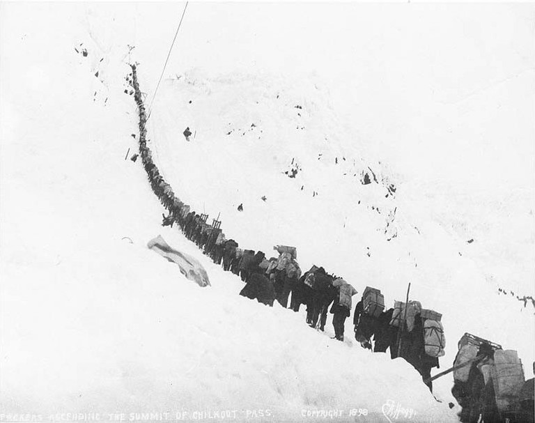 Gold miners in the Chilkoot Pass during the Klondike Gold Rush