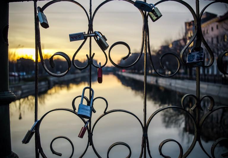 Locks on a bridge over Dambovita River, Bucharest