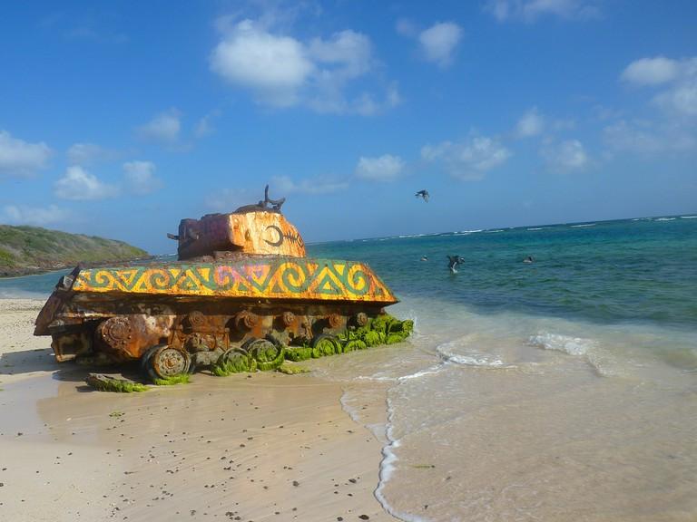 A military tank on a Culebra beach
