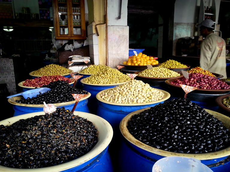 """<a href=""""https://www.flickr.com/photos/snippyhollow/9640615966/"""" target=""""_blank"""">Olives galore in Casablanca's Olive Market"""