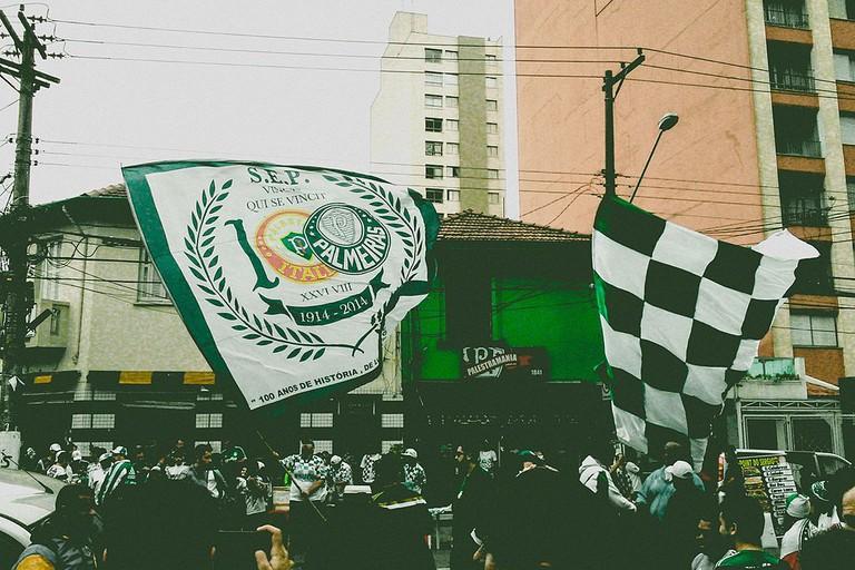 Palmeiras fans before a match against Corinthians