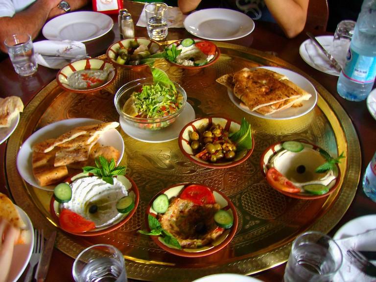 A breakfast platter in Jordan