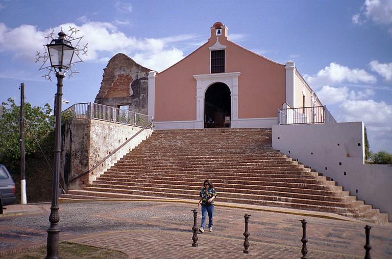 Porta Coeli Church with pink exterior