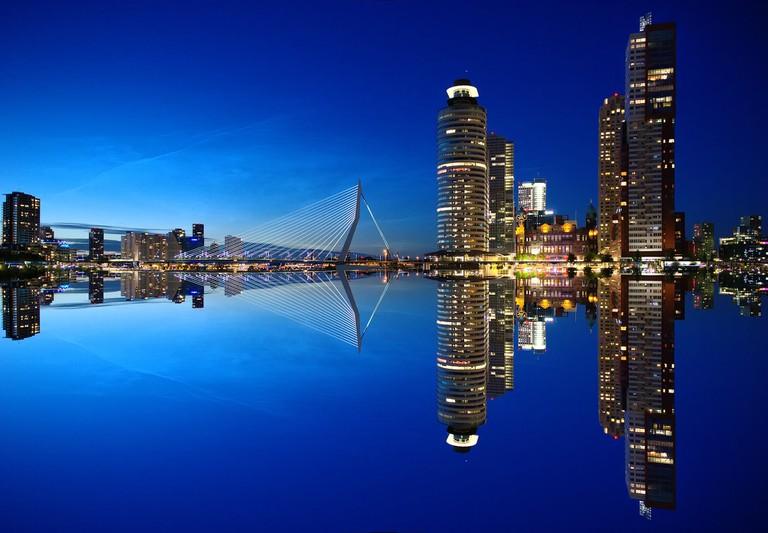 Rotterdam's skyline by night