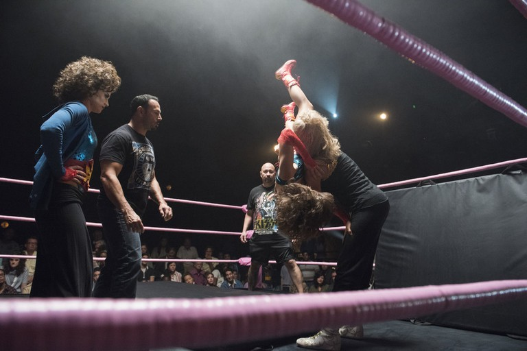 Chavo Guerrero Jr. working with the cast of 'GLOW'