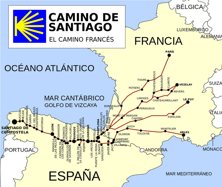 Camino de Santiago route map | ©jynus / Wikimedia Commons
