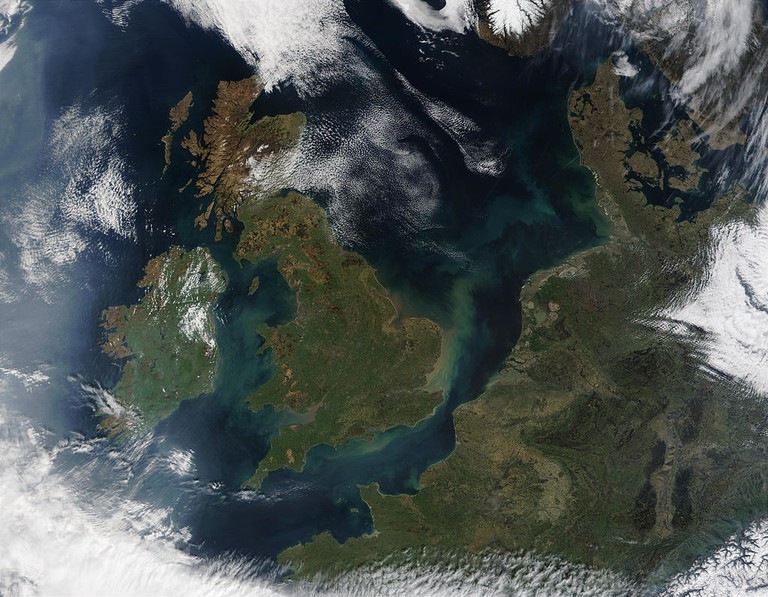 Satellite view of northwestern Europe