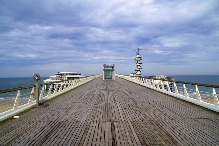 The bungee jump plunges from Schevingen pier