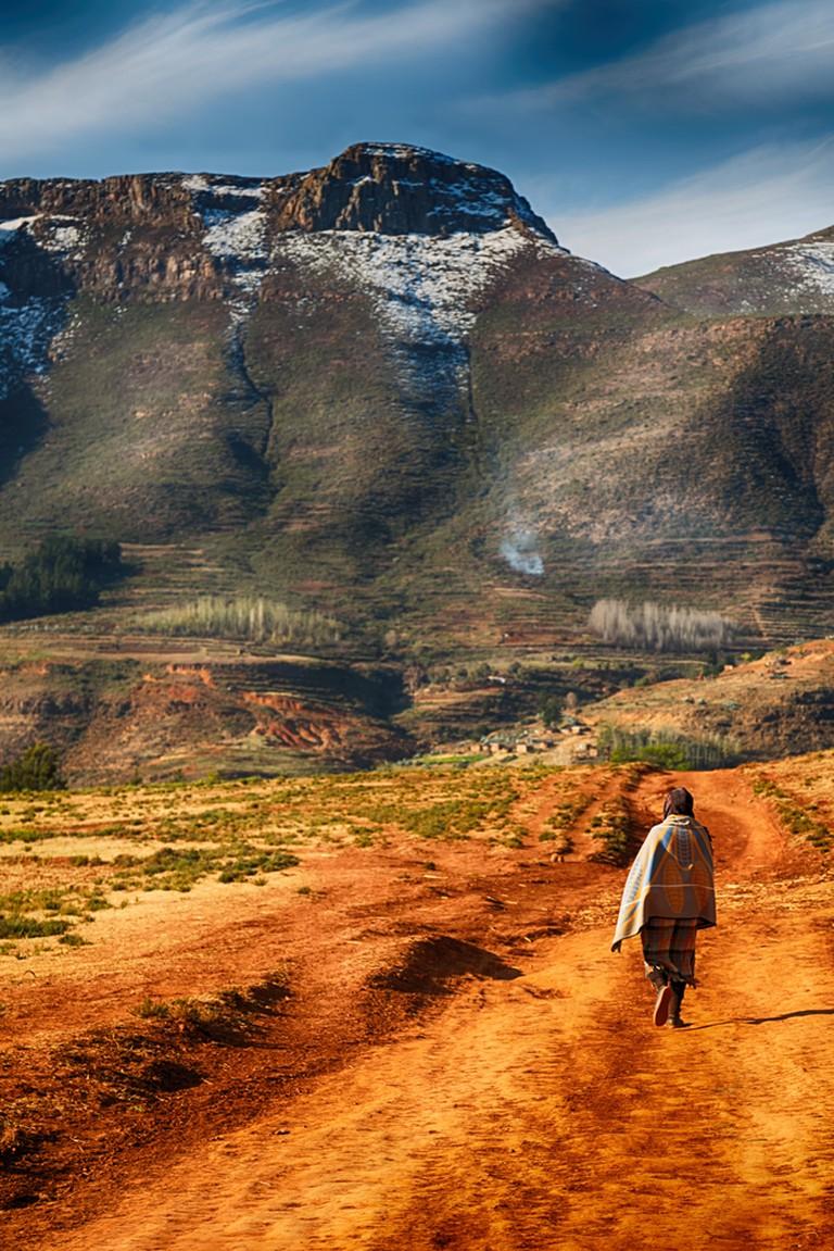 A Lesotho village street