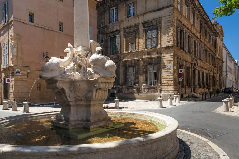 The Fountain of the four Dolphins is much-loved in Aix en Provence