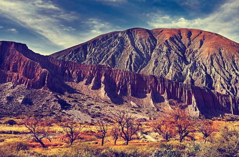 Hill of Seven Colors over Purmamarca village