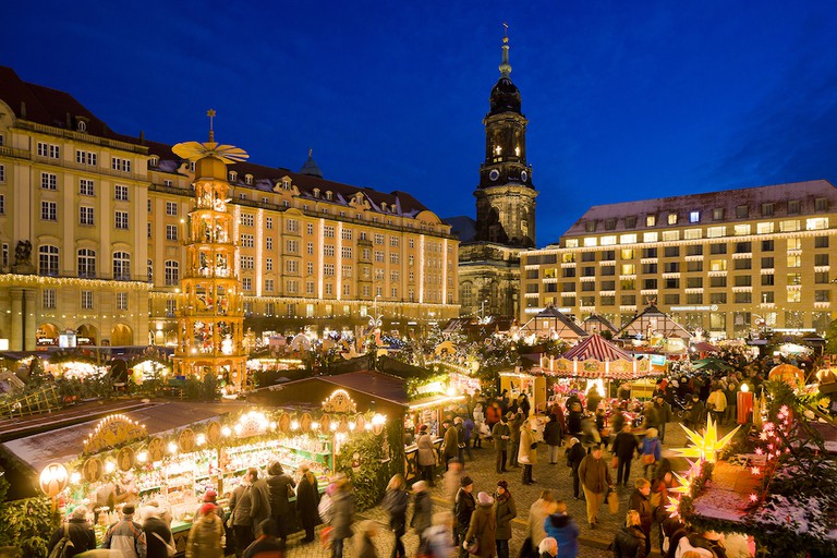 Dresden's Striezelmarkt is the oldest Christmas market in Germany, located at the city's Altmarkt
