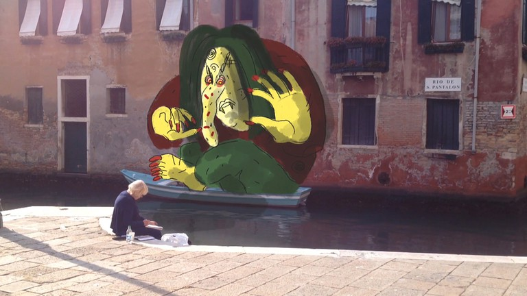 The lady painter on the canal-Out of Controll in Venice, 2017, Icelandic Pavilion at Biennale Arte 2017 – Courtesy the artist and i8 gallery