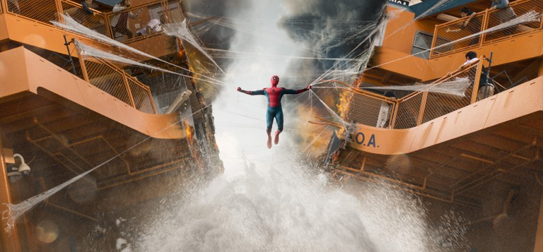 Spider-Man struggles to pull the ferry together in Columbia Pictures' 'Spider-Man: Homecoming'