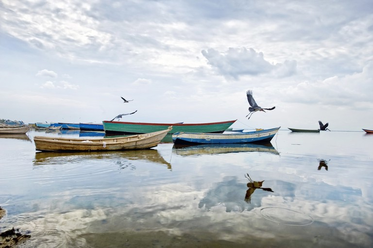 Small fishing vessels are scattered along Uganda's coastline