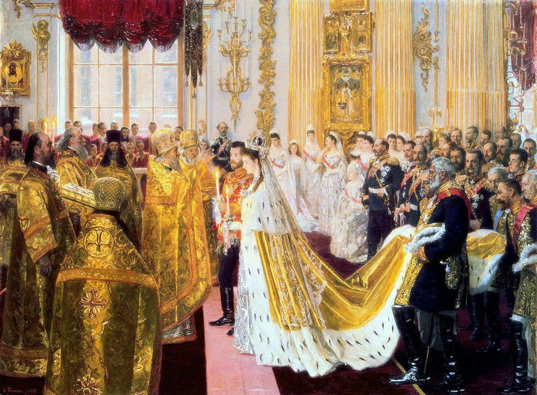 Wedding of Nicholas II and Alexandra Feodorovna,1895 | Laurits Tuxen / Wikimedoa Commons