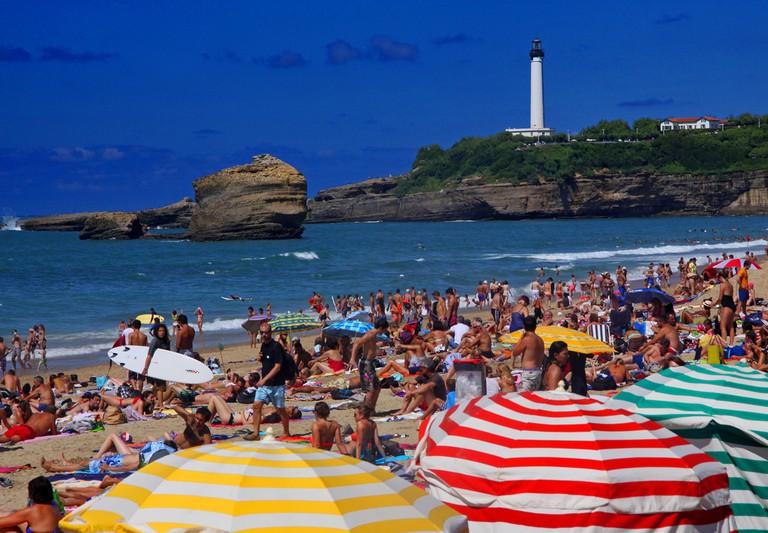 Crowded beach in Biarritz