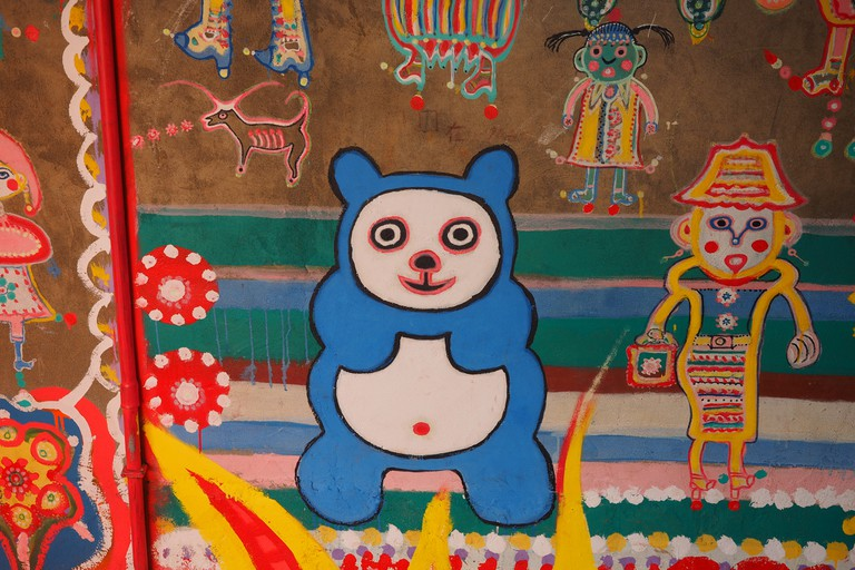 Many of the murals show animals