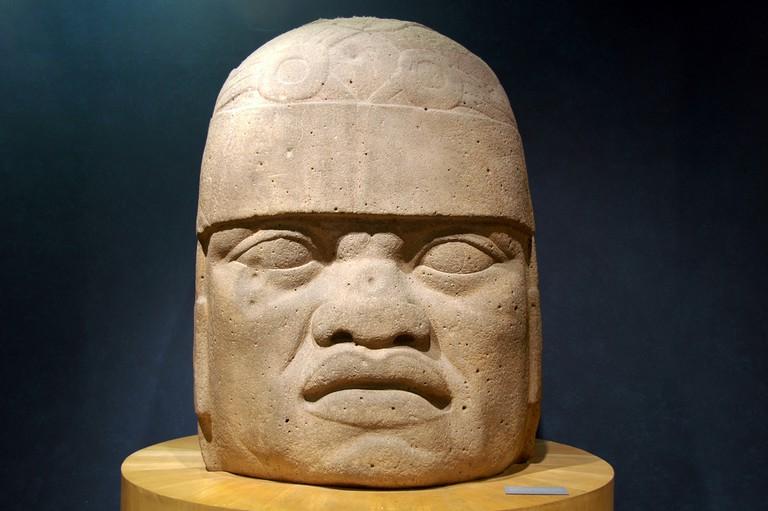 An Olmec head in Mexico City
