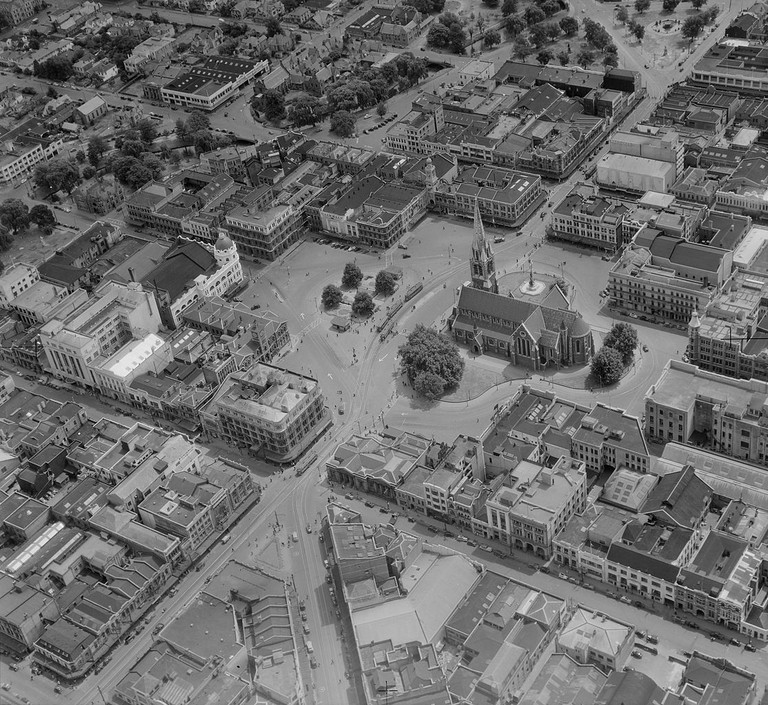 Aerial view of Cathedral Square, Christchurch, pre-1954