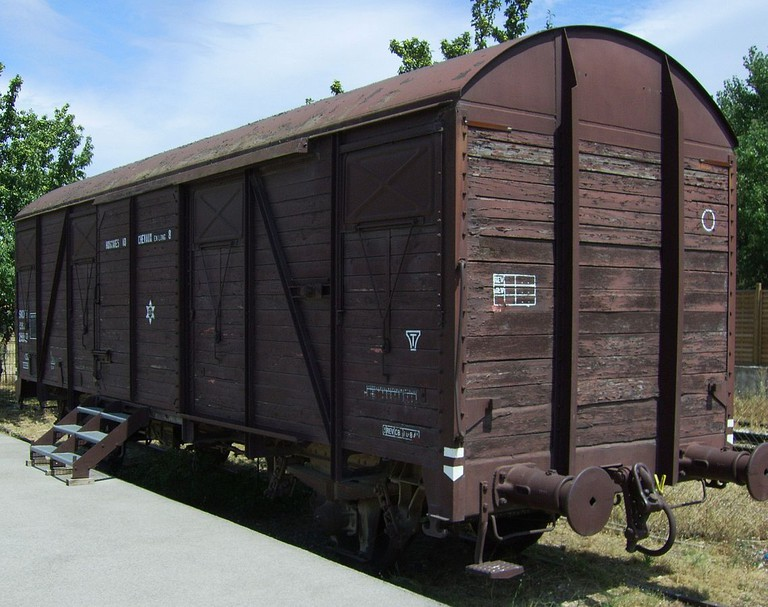The old train wagons that were used to transport people to Auschwitz