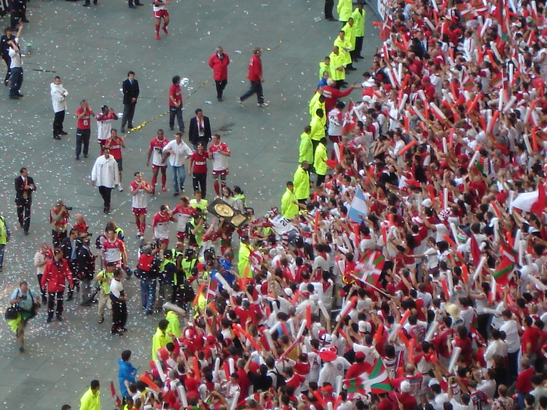 Rugby players from the Biarritz Olympique celebrate championship title