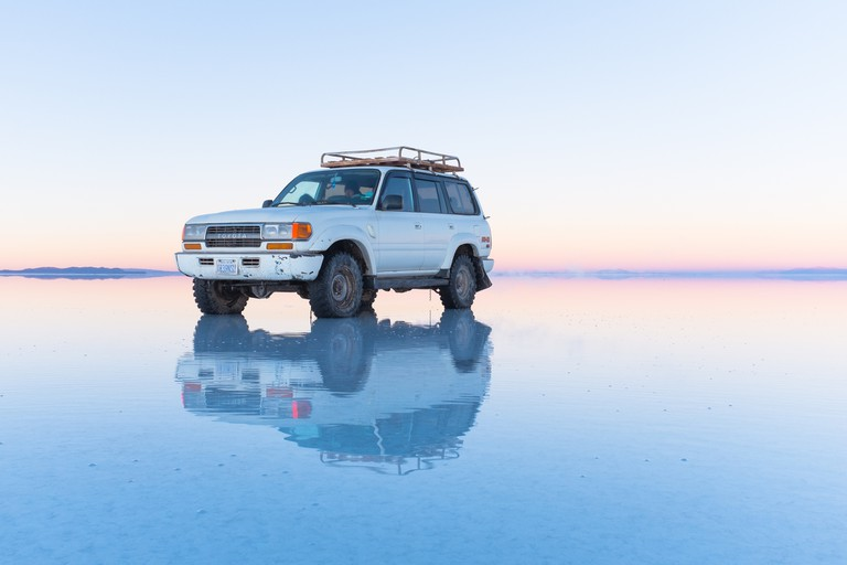 Jeep at Salar de Uyuni