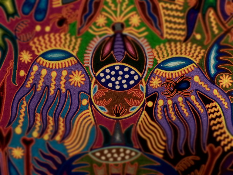 Close up on Huichol art